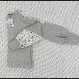 Lace Detail Top in grey with white lace